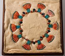 Ancient Egyptian Coral Hardstone & Fan Bead Necklace