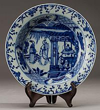 Chinese 19C Blue and White Porcelain Floral Bowl