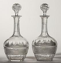 Pair Hawkes 19C Victorian Cut Crysta lGlass Decanters