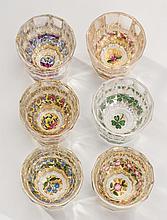 Set of 6 French 19C Crystal Enamel Liquor Shot Glasses