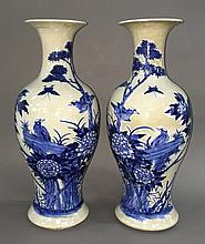 Pair of Signed Chinese 20C Blue & White Porcelain 23