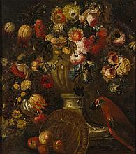 Early Continental 18C Floral Still Life with Bird Oil Painting