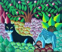 Haitian Oil Painting: Jungle Scene