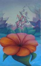 Haitian Oil Painting: Hibiscus/ Ladies