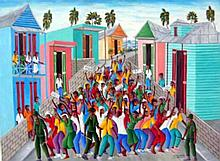 Haitian Oil Painting: Protest against the Macoutes