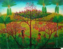 Haitian Oil Painting: Adam & Eve
