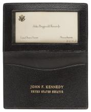 John F. Kennedy U.S. Senate Card & Card Case -- With LOA From Evelyn Lincoln