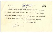 Press Document From the Collection of Malcolm Kilduff, Asking if John F. Kennedy Will Visit Former Vice President Garner on His Fateful Visit to Dallas