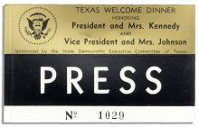 Press Badge for JFK's ''Texas Welcome Dinner'' Scheduled for the Night of 22 November 1963
