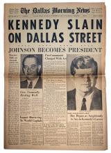 ''The Dallas Morning News'' Announces ''KENNEDY SLAIN ON DALLAS STREET'' & ''Johnson Becomes President''