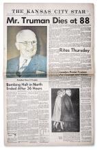 Harry Truman's Death Announced in ''The Kansas City Star'' Newspaper