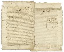 Viceroy of Peru Don Luis de Velasco, Marques de Salinas Document Signed in 1603