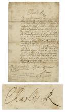 King Charles II Restoration Period Letter Signed
