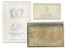 Princess Diana and Prince Charles Wedding Cake Slice -- In Original Presentation Box