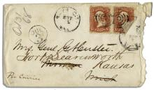 George Custer Full Signature Included in a Handwritten Envelope Made Out to His Wife ''Mrs. Genl G A Custer''