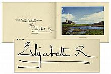 1957 Royal Christmas Card Signed by Queen Elizabeth, The Queen Mother
