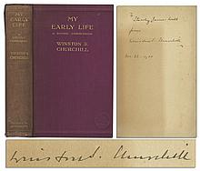 Winston Churchill Signed Book, ''My Early Life, A Roving Commission''