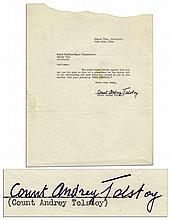 Tolstoy's Grandson, Count Andrey Tolstoy Typed Letter Signed to MGM Regarding The 1935 Film Adaptation of Tolstoy's Masterpiece ''Anna Karenina''