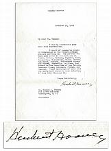 Herbert Hoover 1934 Letter Signed Regarding FDR's Controversial Gold Policy -- ''...I would of course be greatly interested in the investigations...knowledge of late 1932 and early 1933...''