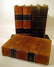 5V Bound Compilations THE ATLANTIC MONTHLY Volumes III IV VI XXIX XXX Edgar Allan Poe Stoddard Bacon Icarus Leather Half Leather Bindings Gilt Lettering Illustrated Decorative