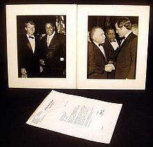3Pcs SIGNED ROBERT KENNEDY LETTER & ORIGINAL PHOTOS OF ROBERT & EDWARD KENNEDY 1965 George Carroll New York History