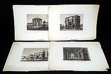 4Pcs Alessandro Moschetti VIEWS FROM PRINCIPALI MONUMENTO DI ROMA 1875 Antique Engravings St Peter's Basilica Arch Of Constantine Temple Of Vesta Arch Of Septimus Severus Rome Vatican