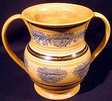 Antique 19th CENTURY MOCHAWARE DOUBLE HANDLE VASE Creamware Tree Seaweed Dendritic Earthenware Lead Glaze Mocha Collectible Pearlware Pottery Porcelain Ceramics