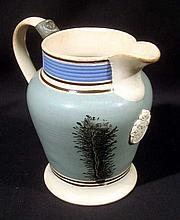 Antique 19th CENTURY MOCHAWARE PINT PITCHER Creamware Tree Seaweed Dendritic Earthenware Lead Glaze Mocha Collectible Pearlware Pottery Porcelain Ceramics