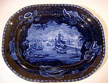 1 Pc. Rare Antique HISTORICAL BLUE STAFFORDSHIRE PLATTER VIEW OF DUBLIN Collectable Dishes Servingware Celtic Harbor Tall Ships Fishermen Flow Blue