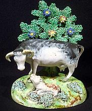 Antique 19TH CENTURY ENGLISH PASTORAL FIGURINE Collectables Staffordshire Bucolic Agrarian Early Ceramics Porcelain Pottery Cows Bovine