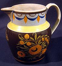 Antique 19th CENTURY HAND PAINTED CREAMWARE PITCHER Mocha Earthenware Lead Glaze Collectible Pearlware Pottery Porcelain Ceramics