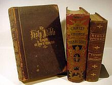 3V Fancy Bindings DECORATIVE ANTIQUE THEOLOGY Gilt Saints Dogma Color Plates Fold-Out Map Scripture & Natural History Illustrated Bible Animals