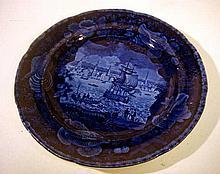 Antique FLOW BLUE STAFFORDSHIRE PLATE