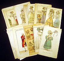 15Pcs Fashion Plates EARLY 1800'S HAND-TINTED ENGRAVINGS Thespian Costumes Marcel Frontin LaFleur Cinderella Vernet Delvoux Paris Ball Gown Evening Summer