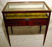 Handsome ANTIQUE LIFT TOP VITRINE TABLE / DISPLAY CASE Two Drawer Artisan Inlay Beveled Glass Brass Jewelry Showcase Dovetail Chubb London England