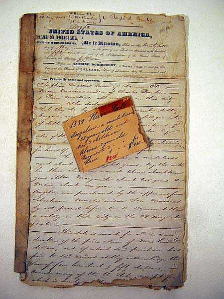 Antique SLAVE BILL OF SALE New Orleans 1851 Mulatto Woman & Children Louisiana Slavery