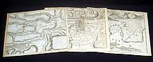 3Pcs War Of Spanish Succession ANTIQUE ENGRAVED BATTLE MAPS Military History Oudenard Turin Toulon France Netherlands Italy