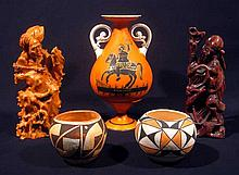 5 Pcs. Vintage INTERNATIONAL DÉCOR COLLECTIBLES Asian Art Hand Painted China Chinese Root Wood Carving Acoma New Mexico Pottery Artisan Native American Trajane's Column Rome Itally Vases Statues Ceramics Porcelain Figurines Furniture