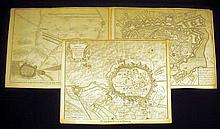 3Pcs War Of Spanish Succession ANTIQUE ENGRAVED BATTLE MAPS Military History Europe Fortifications Doway Mons France Netherlands Belgium