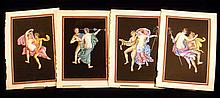 4 Pc. Antique ORIGINAL NEAPOLITAN CLASSICAL-STYLE PAINTINGS 1830s Pompeii Ancient Roman Frescoes Erotica Fauns Bacchantes