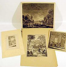 4 Pc. Collectible ANTIQUE ENGRAVINGS Daniel Chodowiecki Bernard Picart J. Aliamet Joseph a Montelegre