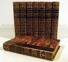 8V Antique Decorative WORKS OF BYRON SET George Gordon Noel Lord Byron Childe Harold Don Juan Poems Romantic Poetry Leather-Bound