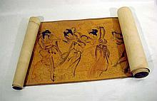 ORIGINAL CHINESE SCROLL c1950 Scroll East Asian Art 13 Goddesses/Muses Musical Instruments Stamps