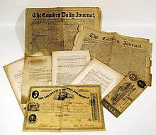 10 Pc. Original Antique CONFEDERATE CIVIL WAR EPHEMERA Greenville Columbia SC Railroad Stock Certificate Camden South Carolina Journal Newspaper CSA $5 Bill Currency Money Numismatics Imprints Secret Spy Service
