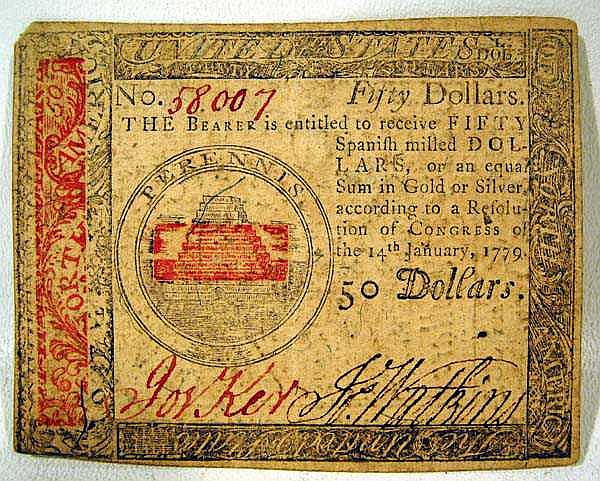 Continental REVOLUTIONARY WAR $50 Note Currency Bill American