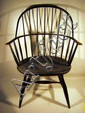 Handsome Antique EARLY 19th C. WINDSOR ARM CHAIR Classic Black Sack-Back