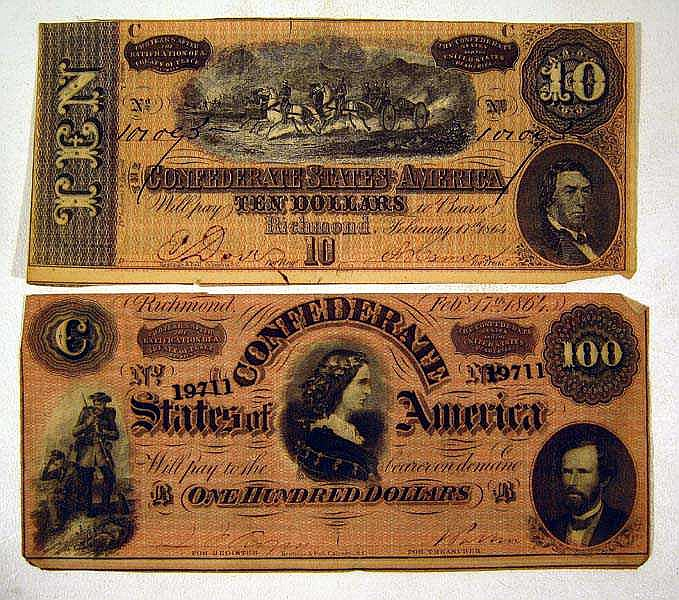 2 Pc. CONFEDERATE MONEY $100 Bill $10 Note Currency CSA Civil War