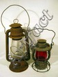 2 Pc. Antique RAILROAD LANTERNS Hot Blast NY Central Vesta Red Globe