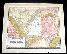 G W Boynton HAND-COLORED ENGRAVED  MAP OF LOWER CANADA & NEW BRUNSWICK Antique American Engraving Nova Scotia T G Bradford