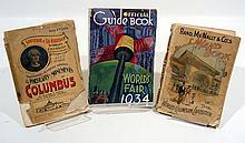 3V THREE WORLD'S FAIR GUIDE BOOKS 1893/1934 Chicago Columbian Exposition Columbus La Rabida New York Fold-Out Map
